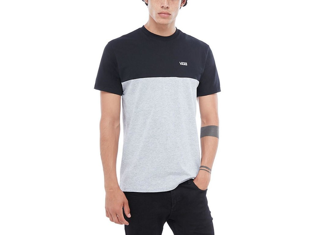 b5dea49e27eed Tričko Vans COLORBLOCK TEE Black-Athletic Heather - Tornadoshop.cz