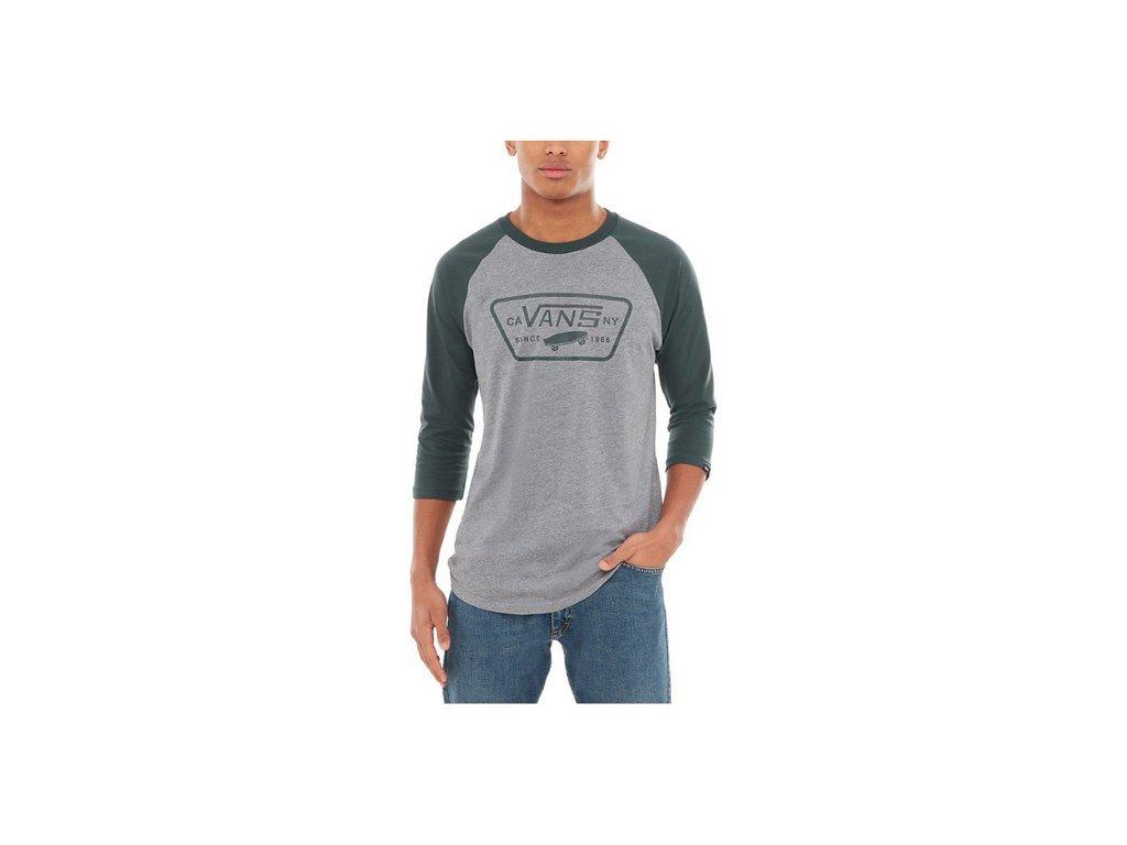Tričko Vans FULL PATCH RAGLAN Heather Grey Darkest Spruce ... 659028d245