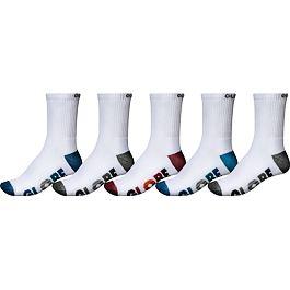 Ponožky Globe MULTI STRIPE CREW SOCK 5PK White