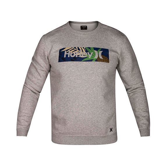 Mikina Hurley SURF CHECK PARADISE CREW Dk Grey Heather